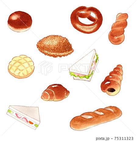 いろいろなパンのイラストセット(白バック) 75311323