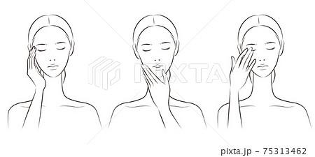 スキンケアをする女性のベクターイラスト 75313462