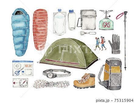 登山 アウトドア キャンプ 道具 アイテム アイコン セット 水彩 イラスト 75315904