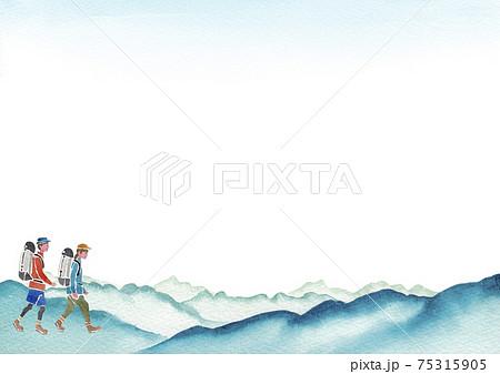 登山 ハイキング トレッキング 人物 背景 フレーム 水彩 イラスト 75315905