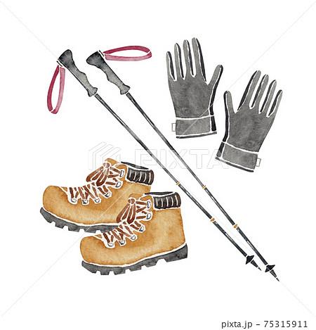 登山 ハイキング トレッキング 道具 アイテム 登山靴 手袋 ポール 水彩 イラスト 75315911