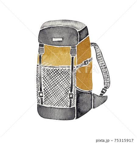 登山 ハイキング トレッキング 道具 アイテム リュックサック ザック 水彩 イラスト 75315917