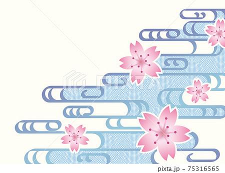 着物柄、波と桜の和風背景 75316565
