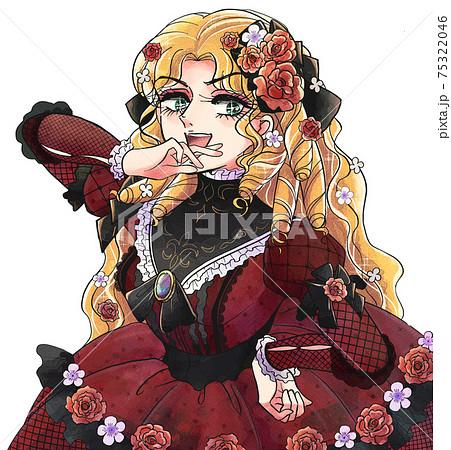 レトロ少女漫画タッチ・縦ロールの女王様・笑うお嬢様 75322046