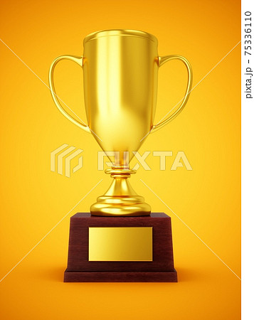 3D Rendering Golden Award Trophy Cup isolated on yellow background 75336110