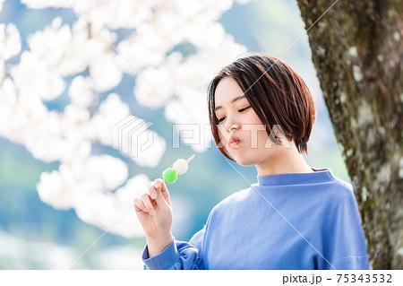 お花見でお団子を食べる女性 75343532