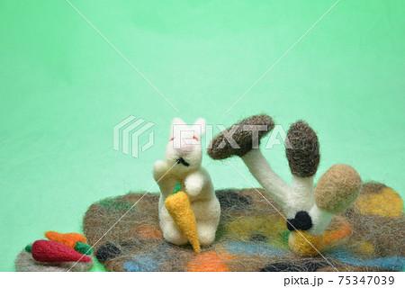 グリーン背景にウサギとニンジン、キノコ 75347039