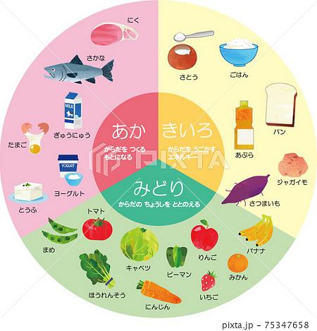 食育イラスト 三色食品群(赤黄緑) 円形 75347658