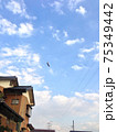 住宅街の上空を飛ぶ飛行船を地上から撮影 75349442