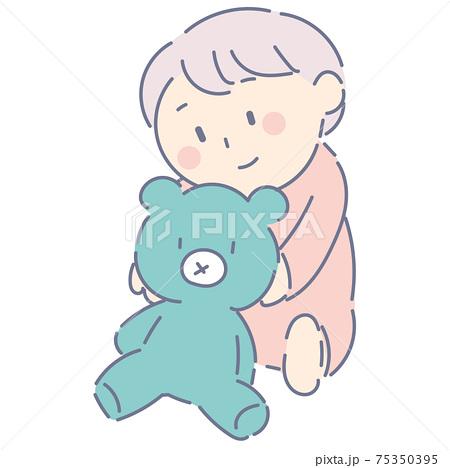 クマのぬいぐるみと赤ちゃん 75350395