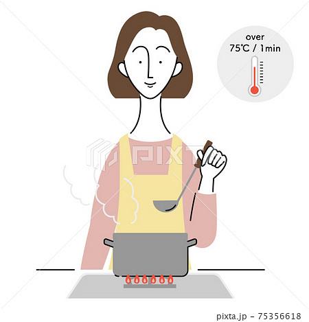 食中毒予防のために加熱調理をする女性 75356618