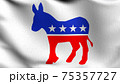 Flag of Democratic Party in USA or The United States of America. 3D rendering illustration of waving sign symbol. 75357727
