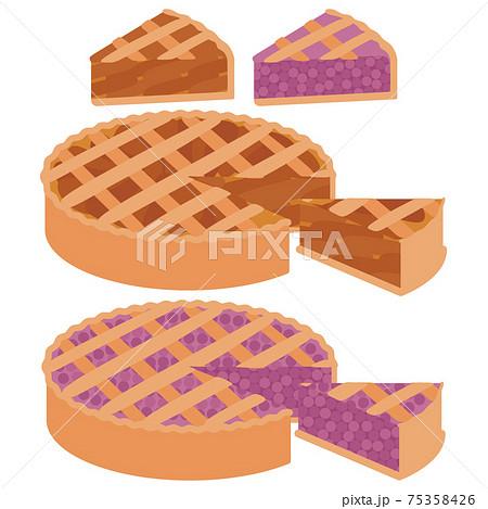 かわいいフルーツパイのイラストセット 75358426