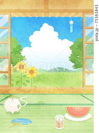 夏の縁側から見た風景の水彩風ベクターイラスト ひまわり、入道雲、青空 75363843