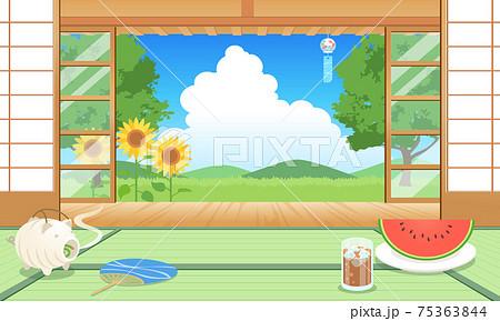 夏の縁側から見た風景のベクターイラスト ひまわり、入道雲、青空、障子 75363844