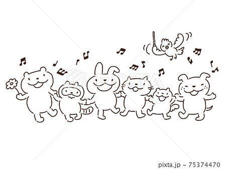 楽しく歌う仲良しな動物たちのイラスト・モノクロ線画 75374470