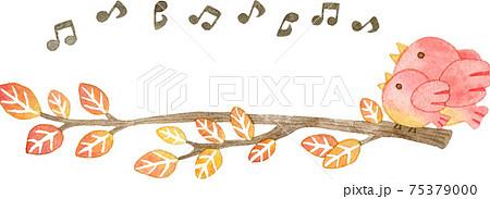 紅葉した木の枝に止まるピンク色の鳥の親子のフレーム(音符付き) 75379000
