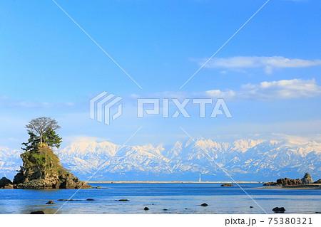 【富山県】晴天下の雨晴海岸と立山連峰 75380321