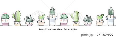 手書きの鉢植えサボテン、多肉植物のシームレスボーダー、水彩イラスト 75382955