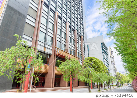 都市風景 明治座通り 明治座と新緑の街路樹 東京都中央区 75394416
