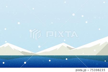 雪空と山と湖、自然の風景素材、レトロ風 75398235