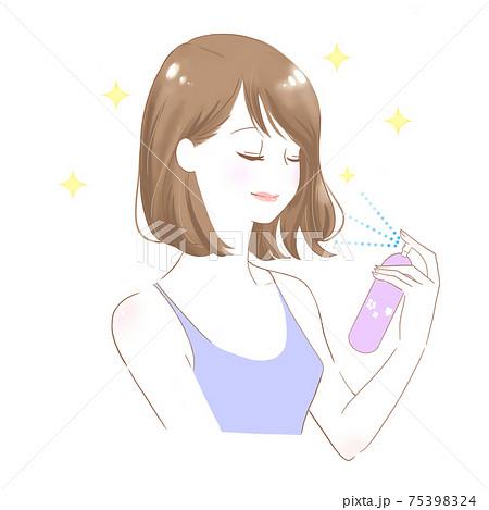 化粧水ミストをかける女性 ロブラベンダー 75398324
