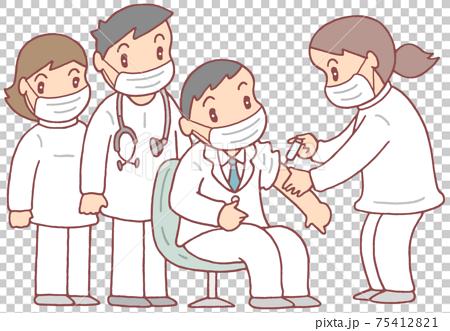 医療従事者へのワクチン接種(マスク着用Ver.) 75412821