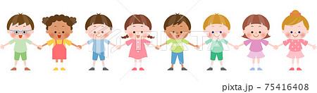 手を繋ぐ色々な国の子供達 75416408