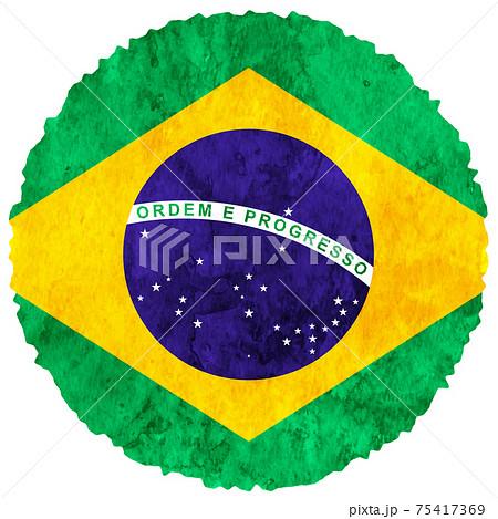ブラジル  国旗 水彩 アイコン 75417369