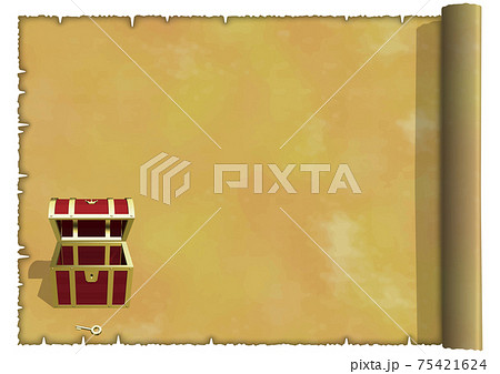 古地図イメージのアンティークフレーム横 宝箱小正面 空っぽ ベクターイラスト 75421624