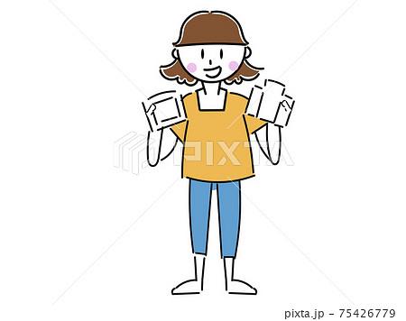 パック牛乳パックを振り分ける女性 主婦先生 75426779