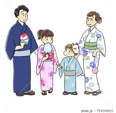 浴衣を着て夏祭りに来た家族 75434915
