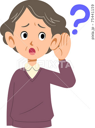 耳が聞こえづらい高齢女性の上半身 75441159
