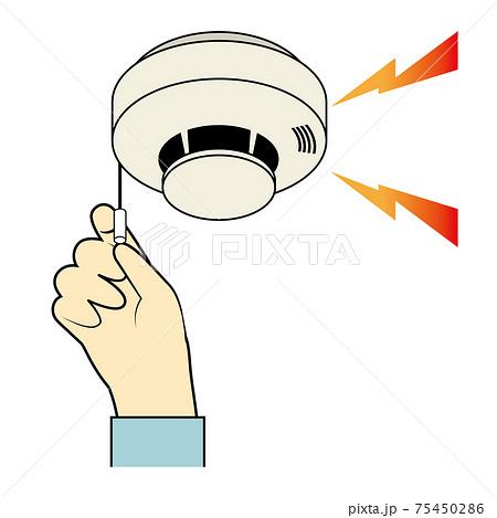 火災報知器のテストのイラスト 紐タイプ 火災報知器と手 75450286