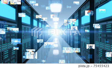 データセンター サーバルーム 映像データ 75455423