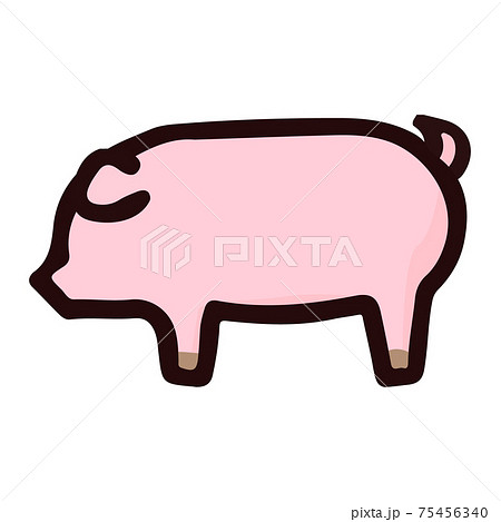 シンプルでかわいい豚のイラスト 手書き風 75456340