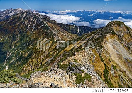 鹿島槍ヶ岳南峰から見る北峰と五竜・白馬の山並み 75457998
