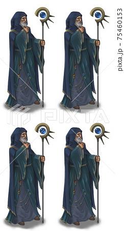 魔術師の男性 表情4種(無表情、笑顔、焦り、目を瞑る) 75460153