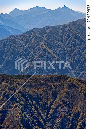 鹿島槍ヶ岳山頂から見る種池山荘と槍・穂高連峰 75460933