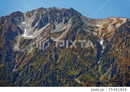 鹿島槍ヶ岳山頂から見る秋色の立山連峰 75461850