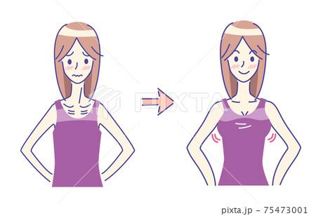 瘦せすぎに悩む女性 ビフォーアフター シンプル イラスト 75473001