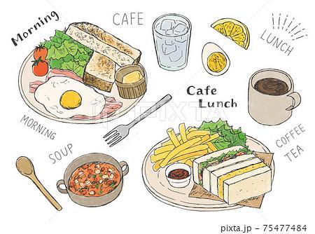 カフェごはん トーストやサンドイッチの手描きイラスト(カラー) 75477484