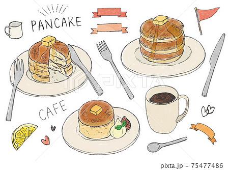パンケーキとコーヒーの手描きイラスト(カラー) 75477486