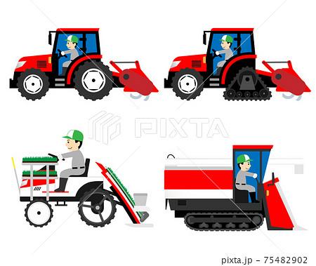 農業機械(トラクター・田植え機・コンバイン)を運転する男性 75482902