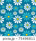 Decorative vector seamless floral pattern with hand drawn white and blue daisy flowers on blue green background. Retro style flat design for fabric textile, wallpaper, wrapping paper, package, covers. 75496811