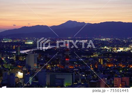 金華山から見た日没直後の岐阜の夜景 75501445