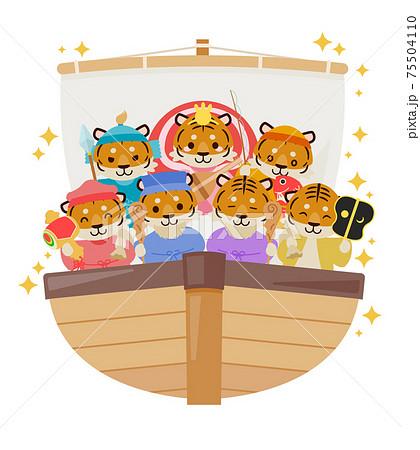 寅年年賀状 : Tiger year illustration card 75504110