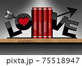 Red Love Books on a Wooden Shelf with Heart and Arrow 75518947