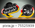 Sprechen Sie Deutsch and Ja - Two Speech Bubbles on Wooden Shelf 75525939