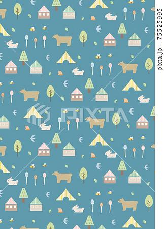 春 自然 動物 北欧風 シームレス パターン 背景 イラスト素材 75525995